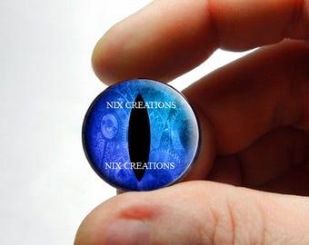 Steampunk Glass Eyes - Steampunk Taxidermy Blue Dragon Eyes Cabochons - Pair or Single - You Choose Size