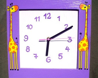 Purple Wooden Wall Clock With Giraffes Painting