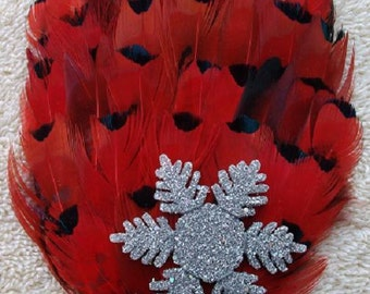 Red and Black Feather Fascinator with Snowflake