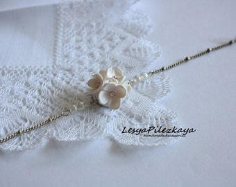 White bracelet with flowers of polymer clay, beads, chain - bridal jewelry
