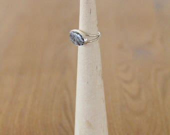 Dinosaur Bone and Sterling Silver Ring Size 6