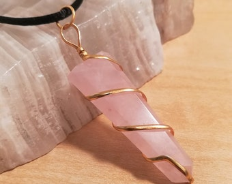 Rose Quartz Gold wire wrapped Crystal Point Necklace, Pink Rose Quartz and Gold Pendant Jewelry