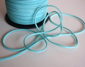 7 Yards (21 Ft.) Aqua Colored Faux Suede Cord, Jewelry Making Supplies