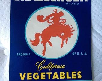 Challenger Bucking Bronco Horse Rodeo Cowboy Crate Label 1950S Vintage Original