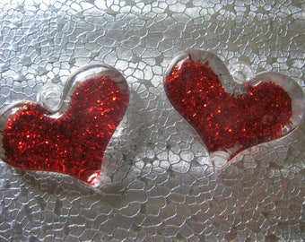 Red Glitter Heart Charm 2 Charms 40mm x 30mm