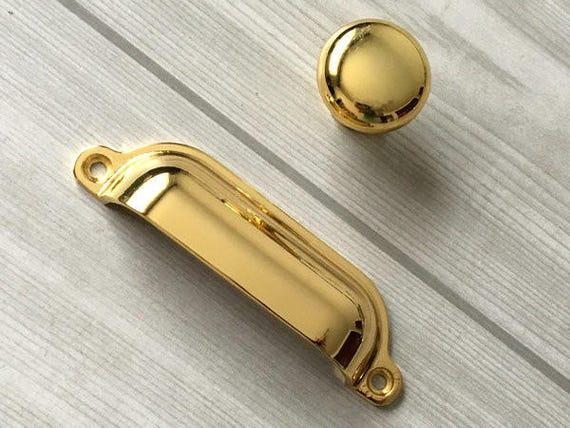 Gold Cup Handles Drawer Pull Door Pull Bin Dresser Pulls Knobs ...