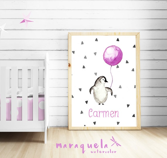 Little PENGUIN Watercolor,PINK nursery decor custom name.Personalized Baby print.Children wall decor,nursery Art,baby shower girls,kids room