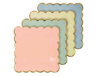 Pastel Paper Plates (8), Assorted Small Plates with Gold Scallop Edge, Rainbow Party Decor, Meri Meri Peach - Blue - Mint Green - Yellow
