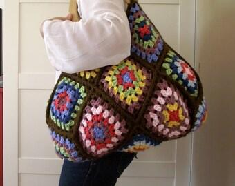 CROCHET BAG PATTERN crochet Granny Squares Bag - Martha Bag - Handbag Pattern, Crochet pdf pattern Large Bag, colorful bag pattern