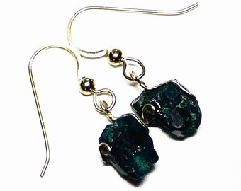 Dioptase Earrings, Gold Dioptase Crystal Earrings, Raw Dioptase in Gold Wire (8.15 ct) Green Dioptase Jewelry, Gold Earring Gift For Her
