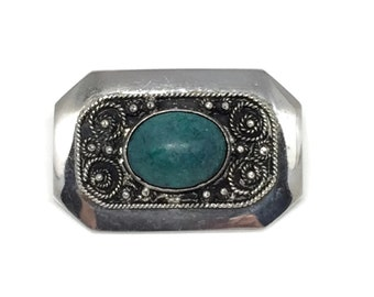 Vintage Israel Sterling Silver Eilat Chrysocolla Filgree Pin