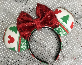 Inspired Ugly Christmas Sweater Minnie / Mickey Mouse Ears