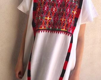 "Mexican huipil dress handwoven embrroidered Tuxtapec Oaxaca - Valle Nacional traditional boho resort Frida Kahlo 26"" W x 39""L"