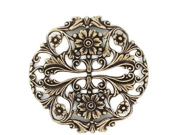 50off Ox Antiqued Brass Fancy Victorian Style Dapt Garden Stamping One ( 1 ) Perfect for Steampunk Art Made in the USA Brass