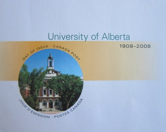 First Day Cover or Day of Issue Canadian Stamps, University of Alberta, 1908-2008 - For Collage & other Multi-Media Projects