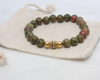 Unakite Bracelet - Green Bracelet, Gifts for Her, Gifts for Him, Vegan Jewellery, Vegan Gift, Beaded Bracelet, Gemstone Bracelet