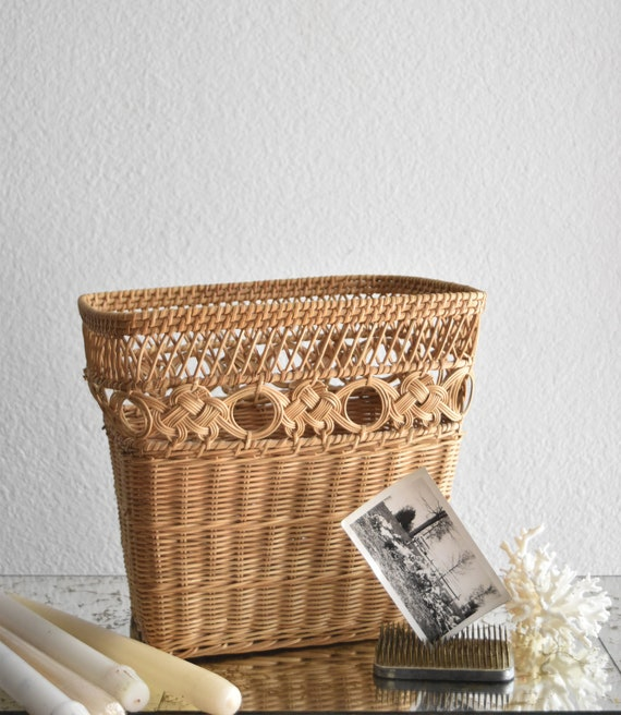 mid century ornate woven rattan waste basket can / trash bin