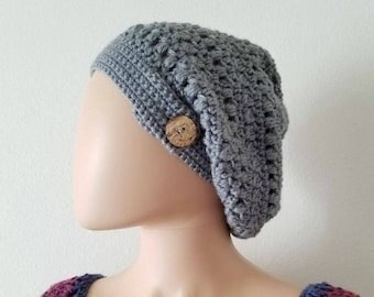 Candace's Cluster and Puff Slouchy Beanie Crochet Pattern *PDF FILE ONLY* Instant Download