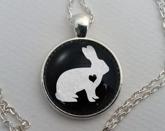 Custom Rabbit Necklace, Glass Dome Pendant, Cute Pet Lover Gift, Round Art Cabochon Charm Jewelry, Pet Memorial, Bunny Jewellery