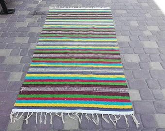 Wool rug Striped decor rug Country decor rug carpet Floor rug Area rug Decorative rug Rustic kitchen decor Floor kilim rug