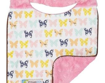 75% OFF Baby Girl Bib- Reversible Bib- Butterfly Baby Gift-Butterfly Baby Shower-Butterfly Bib- Girls Bib-Baby Girl Bib-Handmade Baby gift