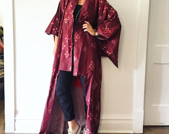 Vintage Japanese Silk Kimono, Ikat Print Maxi Kimono