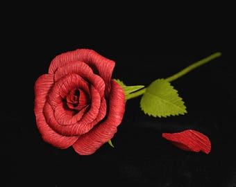 Crepe Paper Rose, Red - Single Stem