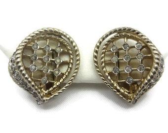 Rhinestone Jewelry - Vintage Jomaz Earrings, Gold Tone, Bridal Wedding Clip Earrings, Costume Jewelry Vintage Earrings for Women