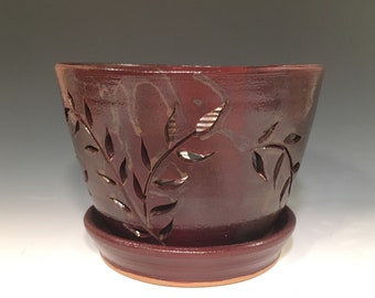 Chocolate Brown Stoneware Orchid Pot