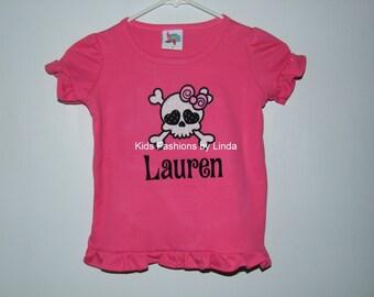 Personalized Skull Pink  Ruffle Girl Shirt