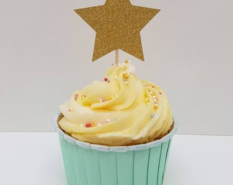 12 x gold glitter star cupcake toppers. DOUBLE SIDED Birthday cupcake toppers. Baby shower cupcake toppers.