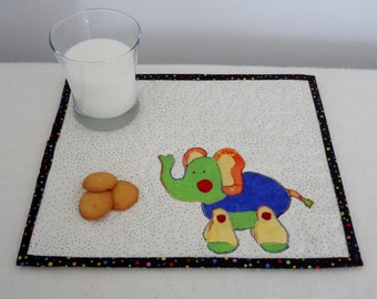 Toy Elephant Mini Place Mat in Blue Green and Yellow