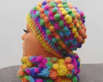 Winter Crochet hat scarf wool,Teen winter hat scarf set, Girls hat scarf set, Ladies hat and scarf set mohair, Womens winter hat scarf set