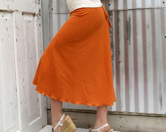 Hemp Mid Calf Jersey Wrap Skirt - Made to Order - Several Colors to Choose From