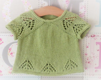 Knitting Pattern Sweater Summer Seamless Top Down & Lacy - Pomona - a simple summer jumper (5 Sizes from Newborn - 5 yrs)