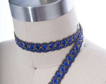 "2 Yards Royal Blue and Antique Gold Gimp. 16mm 5/8"" Royal Blue Furniture Trim/  Blue and Gold Costume Trim/ Antique Style"