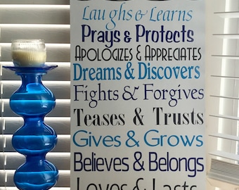 Family rules. Laugh and Learn. Prays & Protects. Handmade sign.