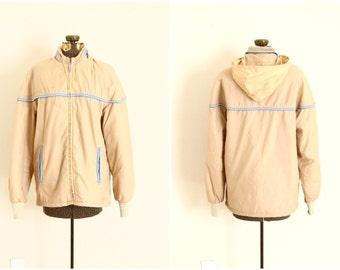 80s hooded windbreaker | Mens vintage jacket | stripe hoodie [ medium ]