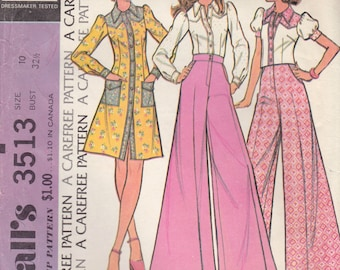 Vintage 1973 McCalls Sewing Pattern 3513 / Misses Boho Dress, Puffed Sleeve Blouse, Jacket and Wide Leg Pants / Size 10 Bust 32 1/2