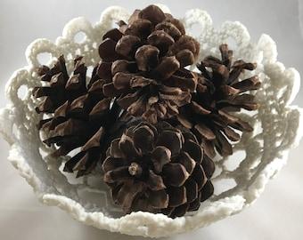 Filigree Lace Crochet Bowl-Sugar Sculpted Doily Basket-Key Dish-Decorative Bowl-White Neutral Storage-White Decor-Seasonal Bowl