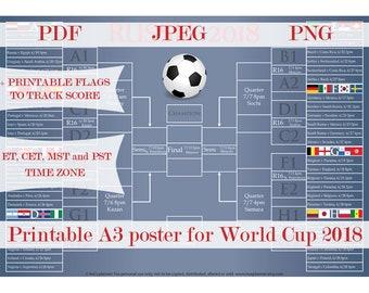 2018 World Cup Schedule,  World Cup Wall Chart. Soccer Russia 2018  Poster. Mundial Futbol Scorecard