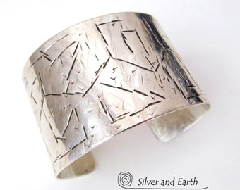 Textured Sterling Silver Cuff, Wide Silver Cuff, Contemporary Modern Jewelry, Solid Sterling Silver Cuff Bracelet, Silversmith Jewelry