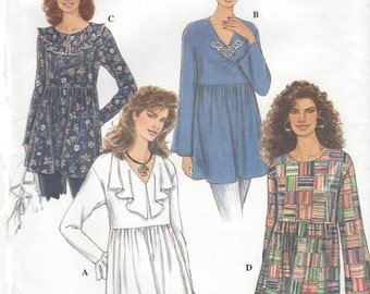 1990s Womens Lagenlook Tunic with Neckline & Sleeve Variations Simplicity Sewing Pattern 9208 Size 6 8 10 12 14 16 Bust 30 1/2 to 38 FF