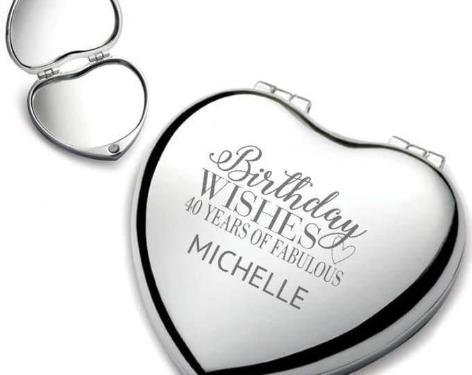 Personalised engraved 40TH BIRTHDAY heart shaped compact mirror birthday wishes gift idea, chrome plated - HEM-B40