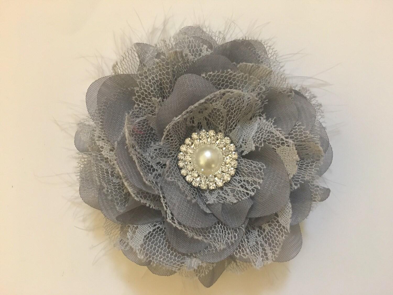Gray Flower Clip Bridal Hair Flower Feather Clip Chiffon Lace Hair