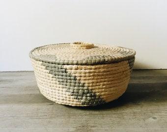 Vintage lidded storage basket | decorative basket