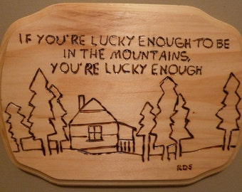 Lucky Enough Mountain Wall Plaque