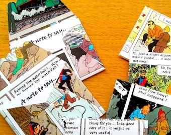 9 Tintin Mini Envelopes / Gift Card- 6 Tintin Note cards- Tintin Comic Book Birthday - Tintin  Party -  Birthday Party  Decor