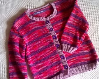 cotton vest pink bayadere and purple 1 year