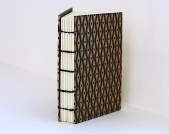 Damascus- Black Cover with Gold and Copper Geometric Pattern